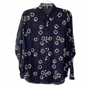 J. Crew Button Down Navy and White Cotton Shirt